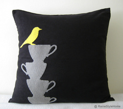 Yellow Bird Resting On Teacups Black Pillow Cover. Tea Time - $28.50