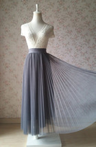 Gray Full Long Pleated Skirt Women High Waisted Gray Pleated Tulle Maxi Skirt  image 11