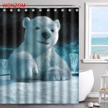 WONZOM Tiger Polyester Fabric Bear Shower Curtain Bathroom Decor Dolphin Waterpr image 6