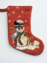 Christmas Stocking Snowman Reindeer Frosty Mini Handmade Needlepoint Vtg... - $17.84