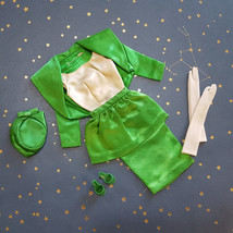 Vintage Barbie Theater Date Outfit Green Satin Peplum Pillbox Gloves Shoes  - $64.30