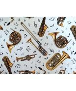 1/2 yd music/trumpet/sax/trombone/horns on cream quilt fabric-free shipping - $8.99