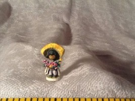 Vintage 1985 Goebel DeGrazia Miniature Boy w/Flowers #502P Bronze - $35.85