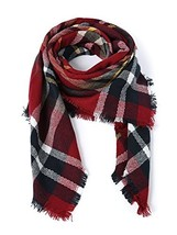 Women's Fall Winter Scarf Classic Tassel Plaid Scarf Warm Soft Chunky La... - $9.96
