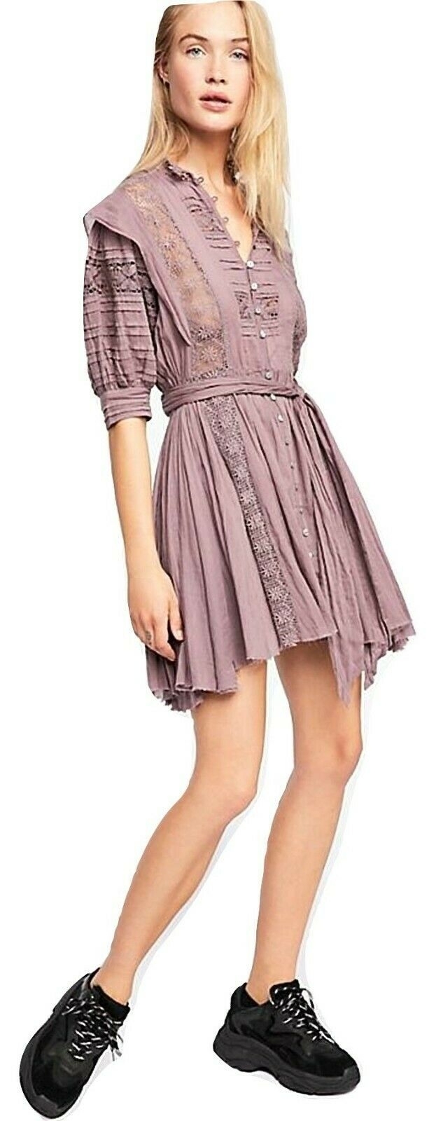 Free People Sydney Lace Pintucked Plum Dress Size Small
