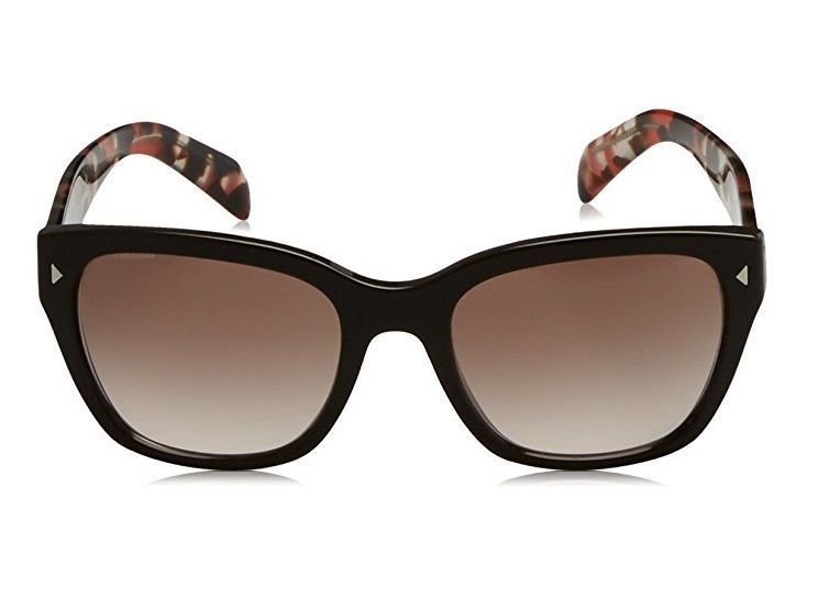 Prada OPR 09SS DHO3D0 54 Womens Sunglasses, Brown Red Havana / Brown Shaded