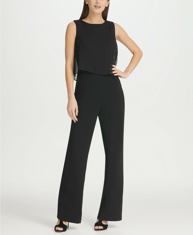 DKNY Chiffon Overlay Jumpsuit Black Size 8 $129