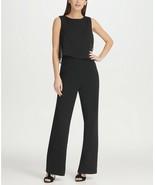 DKNY Chiffon Overlay Jumpsuit Black Size 8 $129 - $37.99