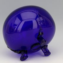 Scarce Viking 1014 Large Cobalt Blue Flowerlite with Crystal Frog image 3