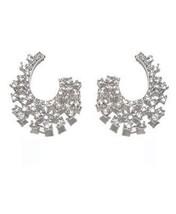Clear Cubic Zirconia Cluster Stud EARRINGS--25MM Bridal - $48.51