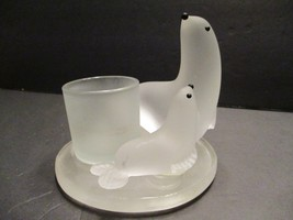Partylite Seal and Pup Votive Tealight Candle Holder Mother Baby Frosted... - $12.61