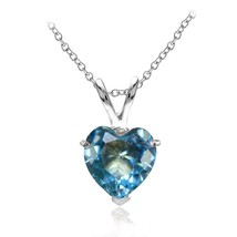 Sterling Silver Simulated Blue Topaz Heart Pendant Necklace - $52.07