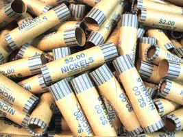 40 Nickel-5 Cent-Coin Wrappers- Coin Rolls-Crimped On One End- N.F. Stri... - $12.95