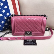 AUTHENTIC CHANEL PINK QUILTED GLAZED CALFSKIN MEDIUM BOY FLAP BAG RHW image 1