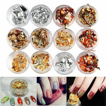 12pcs Nail Art Gold Silver Metal Foil Paper 3D Sticker Flake Decal Decor... - $6.35