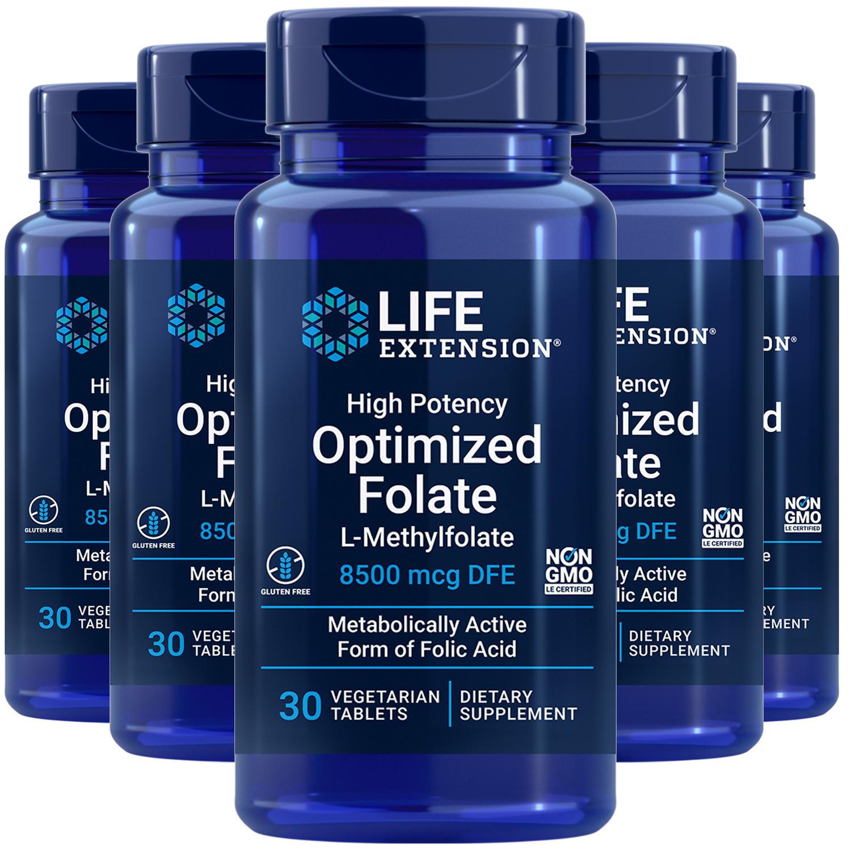 L-Methylfolate 5000mcg High Potency Optimized Folate Life Extension 5X30 Pills - $61.52
