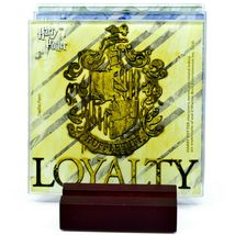 Harry Potter Hogwarts House Crest Prints 4 Piece Fused Glass Coaster Set Holder image 4