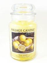Village Candle Zesty Lemon Scented Large Classic Jar Candle 2 Wicks 26 oz - $30.00