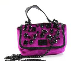 Steve Madden  NWT Magenta Purple Black Velvet Valera Mini Crossbody Handbag - $21.77