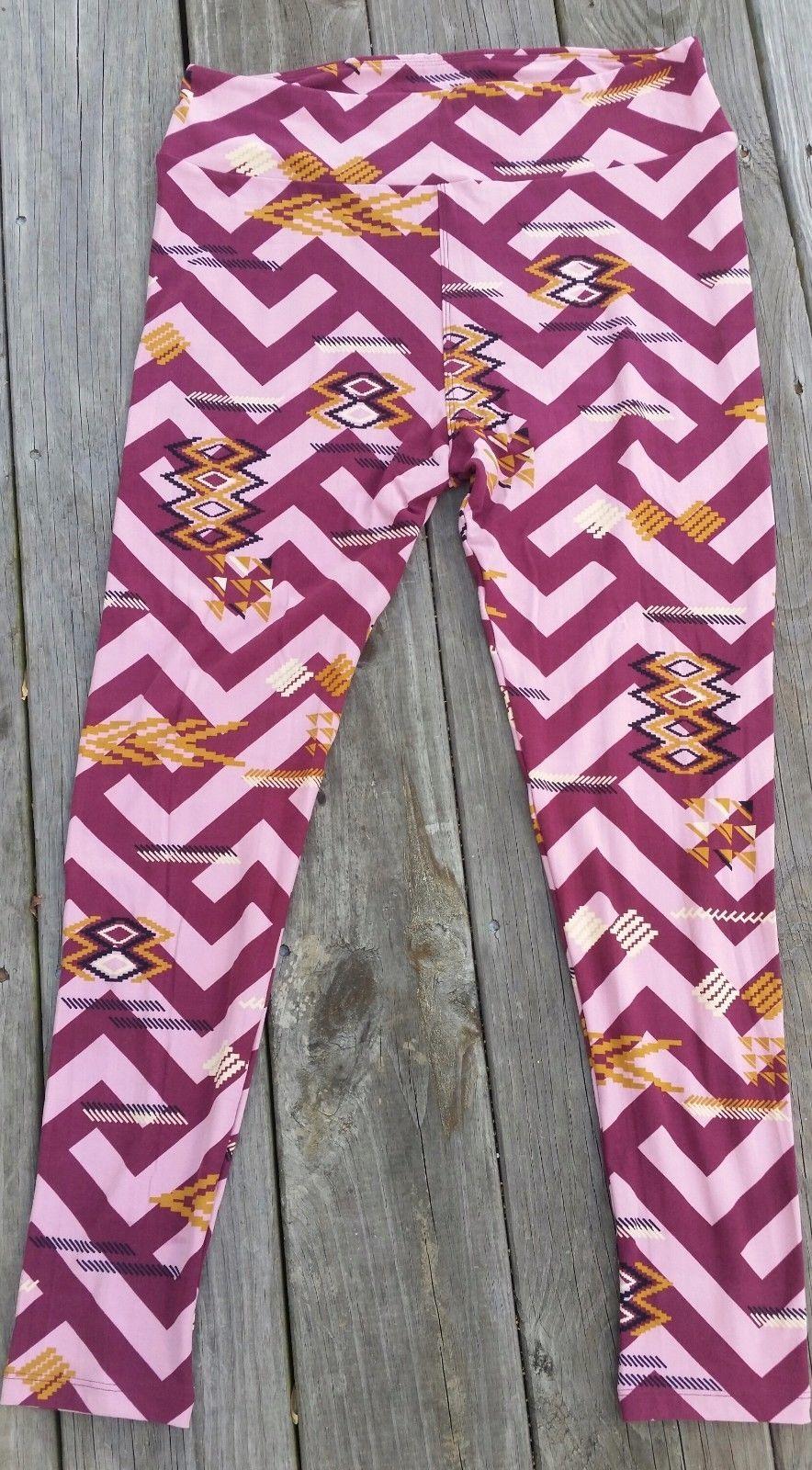 257175b08fcdd8 Lularoe TC Tall and Curvy Pink Burgandy Chevron Leggings Brand New So Cute!