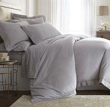 Darcy Grey Color 3pc Queen Size Duvet Cover Set Tencel / Cotton Hemstitc... - $117.55