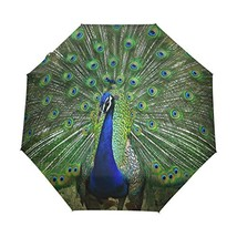 WOZO Peacock Feather 3 Folds Auto Open Close Umbrella - $41.34