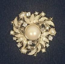 Vintage Signed MONET Enamel Rhinestone Blush Faux Pearl Brooch Pin Excel... - $24.75