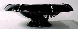 Fenton Ebony Jet Black Glass Console Bowl- 1930s Flared, Rolled Rim Cent... - $44.99