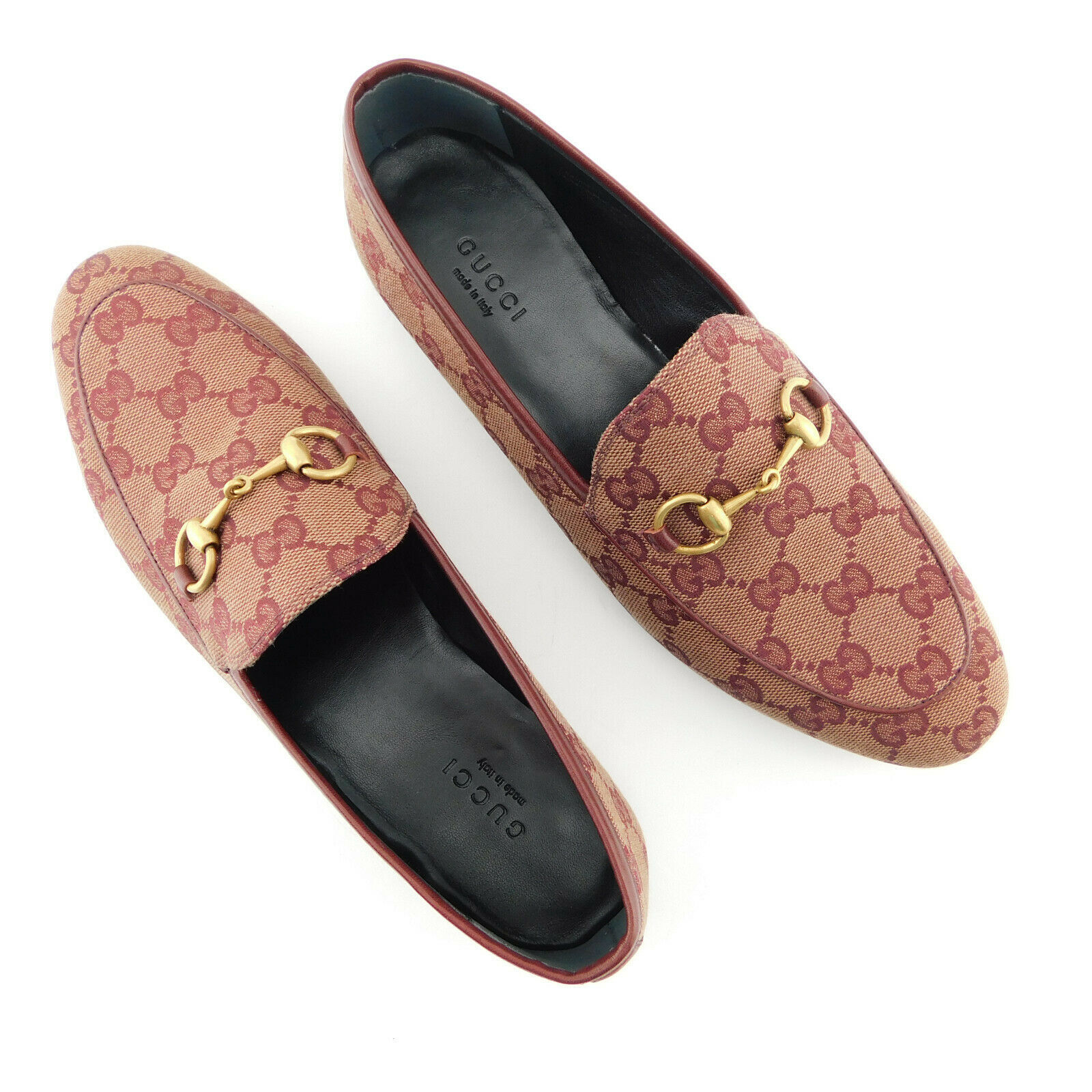 New GUCCI Size 7.5 JORDAAN GG Signature Canvas Loafers Flats Shoes 37.5 Eur - $549.00