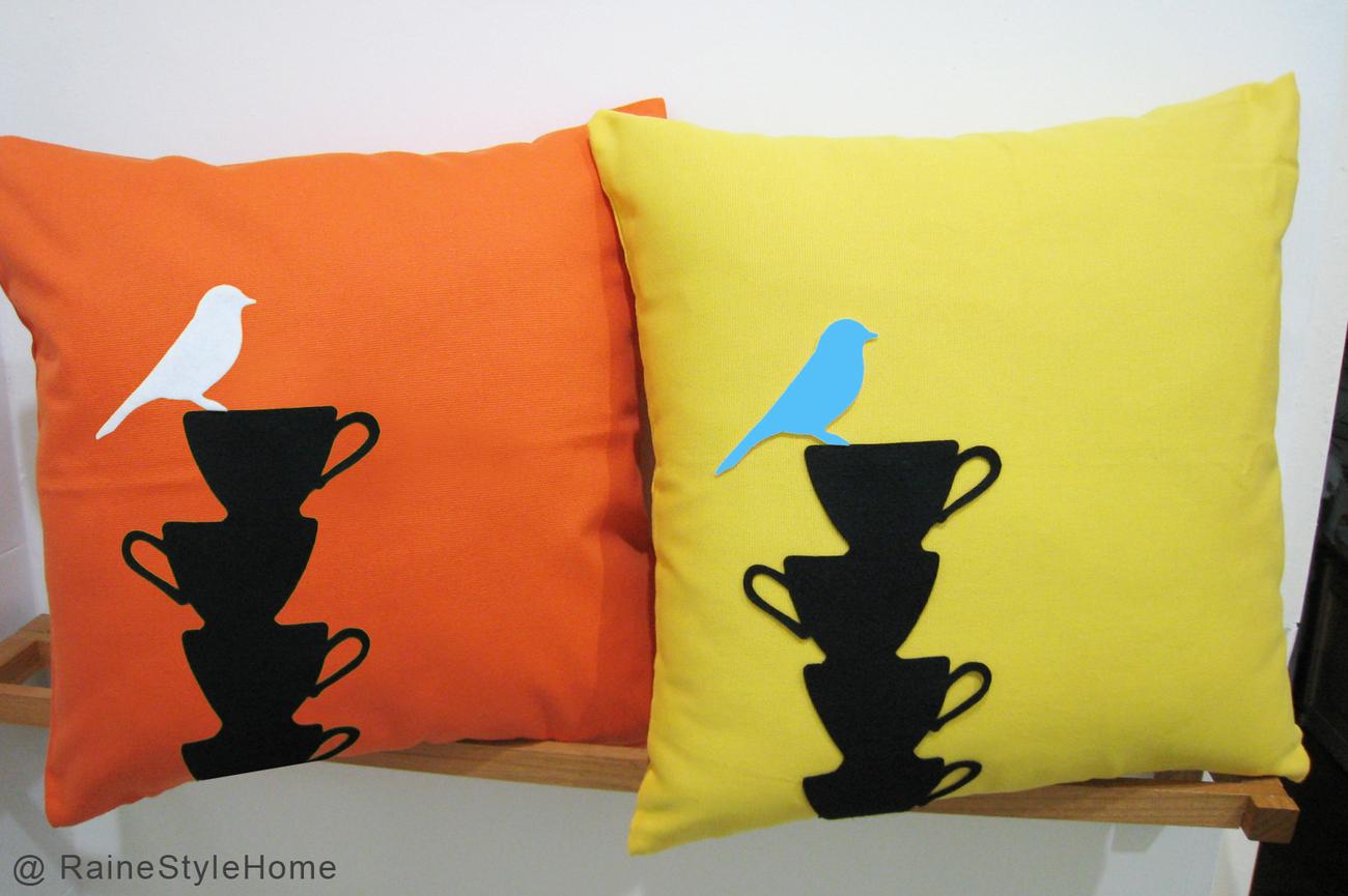Yellow Bird Resting On Teacups Black Pillow Cover. Tea Time