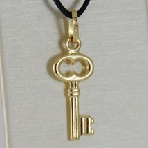 18K YELLOW GOLD FLAT KEY SMOOTH PENDANT CHARM, LUCKY, SECRET, LOVE MADE ... - $97.75