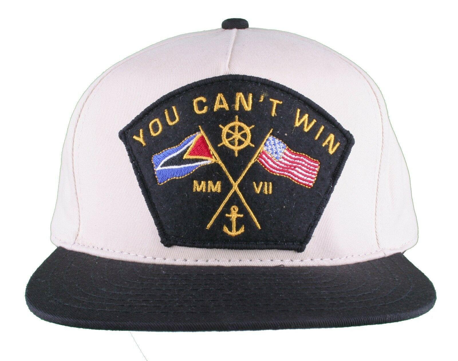 Motivation Du Cant Gewinnen Naval Creme Beige Khaki Snapback Baseballkappe Nwt