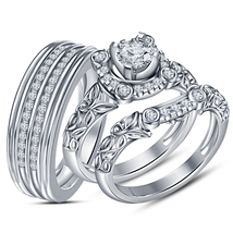 White Cz Trio Set His Her Matching Engagement Wedding Ring White Gp & Free Gift - $159.63