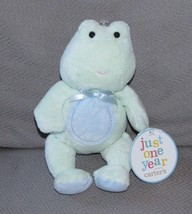 """Carters Just One Year Green Frog Blue Tummy Circle Plush Baby Toy NEW 9"""" - $16.82"""
