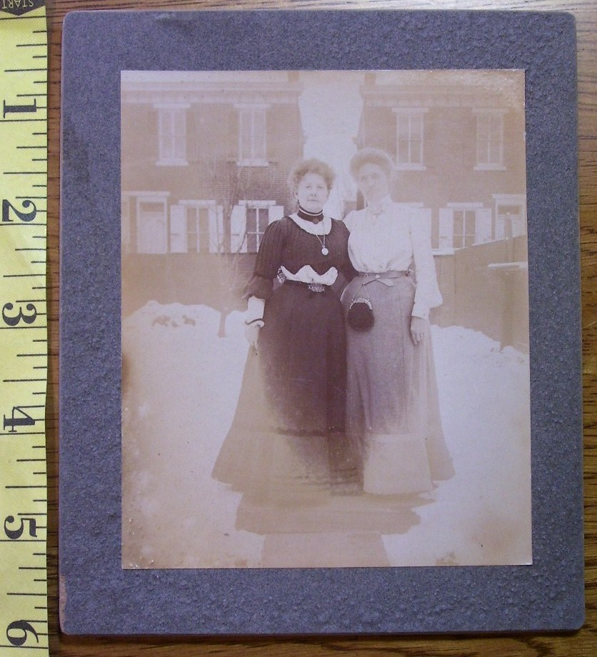 Cabinet Card Photo Two Nice Ladies Outdoors Long Dresses! c.