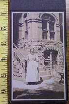 Cabinet Card Happy Lady Big Stone Brick House! c.1920 - $0.80