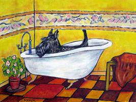 animal Art oil painting printed on canvas home decor  TERRIER dog bathroom  - $14.99+