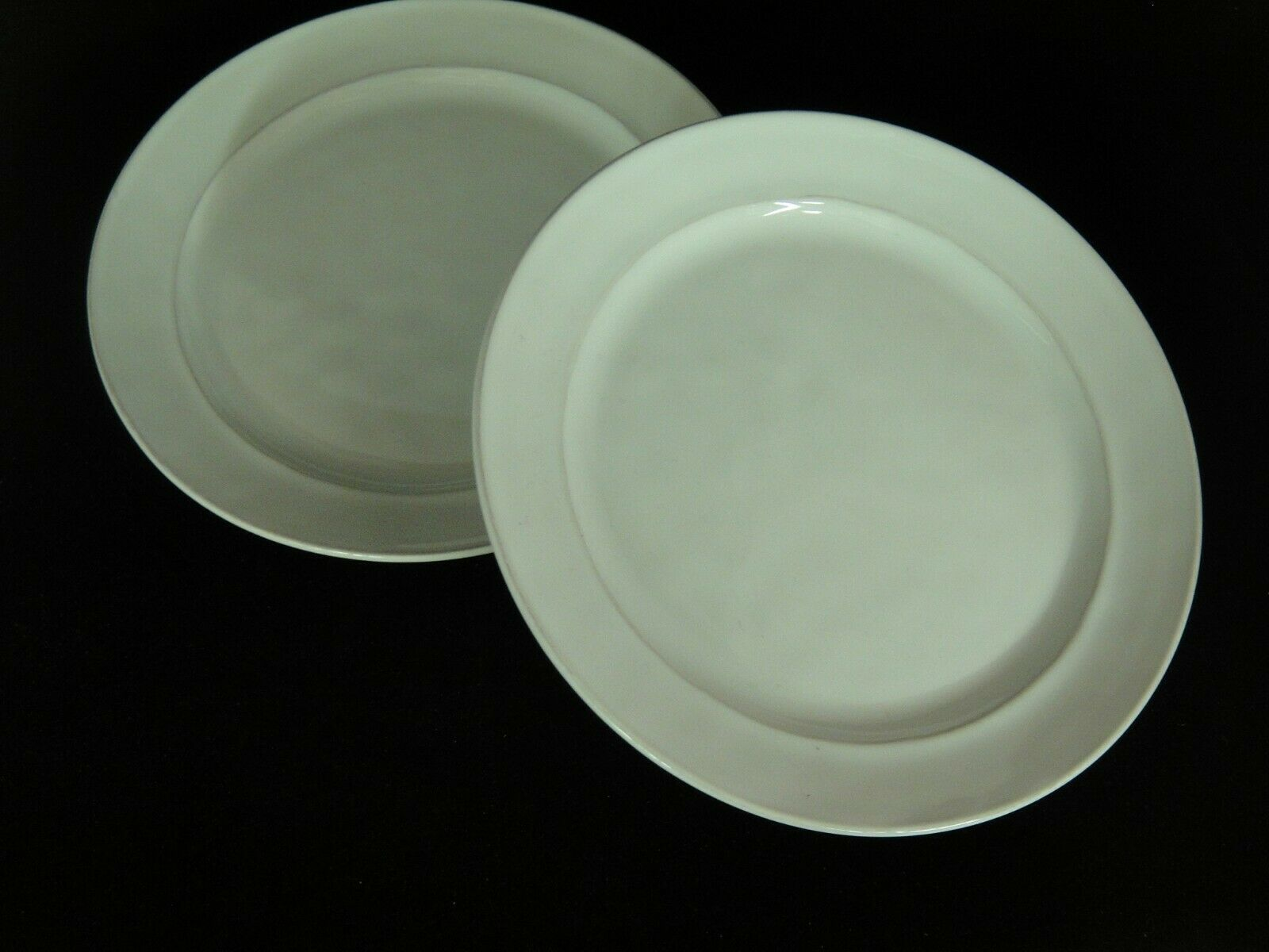 """Pier 1 White Cambria Lot of 2 9.5"""" Salad Plates Portugal Pottery - $14.84"""