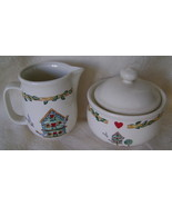 Birdhouse Pattern Stoneware Sugar and Creamer Set Dishwasher Safe New - $15.00