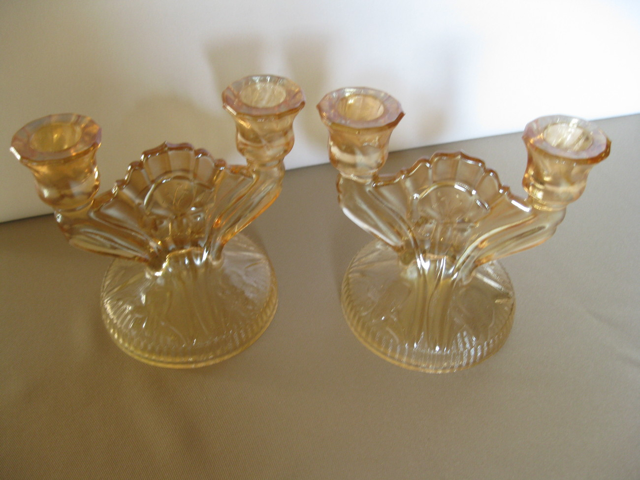 Vintage Jeannette Glass Iris and Herringbone Double Candle Holders USA