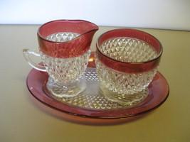Indiana Glass Ruby Flash Diamond Creamer, Sugar... - $46.99