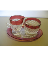 Indiana Glass Ruby Flash Diamond Creamer, Sugar... - $46.99