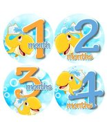 WHALES SPLISH SPLASH SQUIRT Baby Month By Month Stickers - Baby Month On... - $11.69