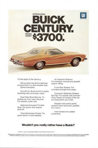1973 GM automobile Buick Century feature Intro print ad