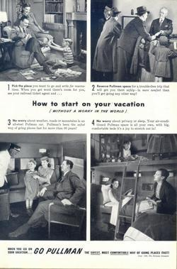 1946 Go Pullman safest comfortable onboard vacation ad