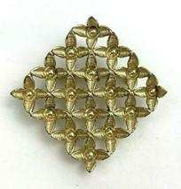 Gold Tone Open Work Brooch Pin Vintage Flower Floral Cluster Unique - $14.80