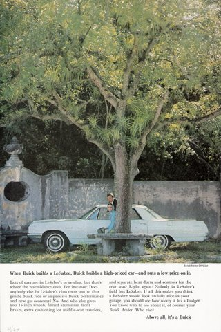 1964 GM Buick LeSabre Sedan couple under shade print ad