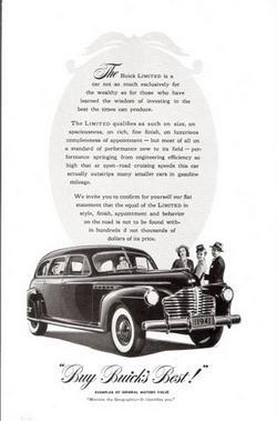 1941 Buick Limited 4 Door Sedan b&w vintage print ad