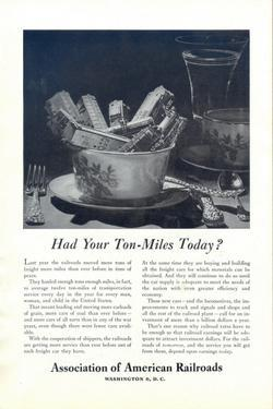 1948 Association of American Railroads Ton-Miles print ad