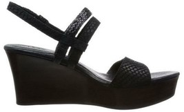 Women's Shoes Ugg LIRA MAR Wedge Sandal Scale-Embossed Suede Braided Strap BLACK - $80.99